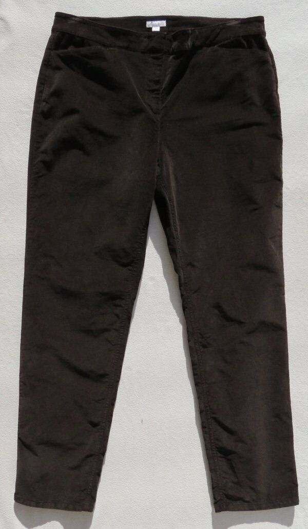 J JILL Dark Brown Pinwale Corduroy Stretch Tapered Leg Trouser Cords Pants sz 14