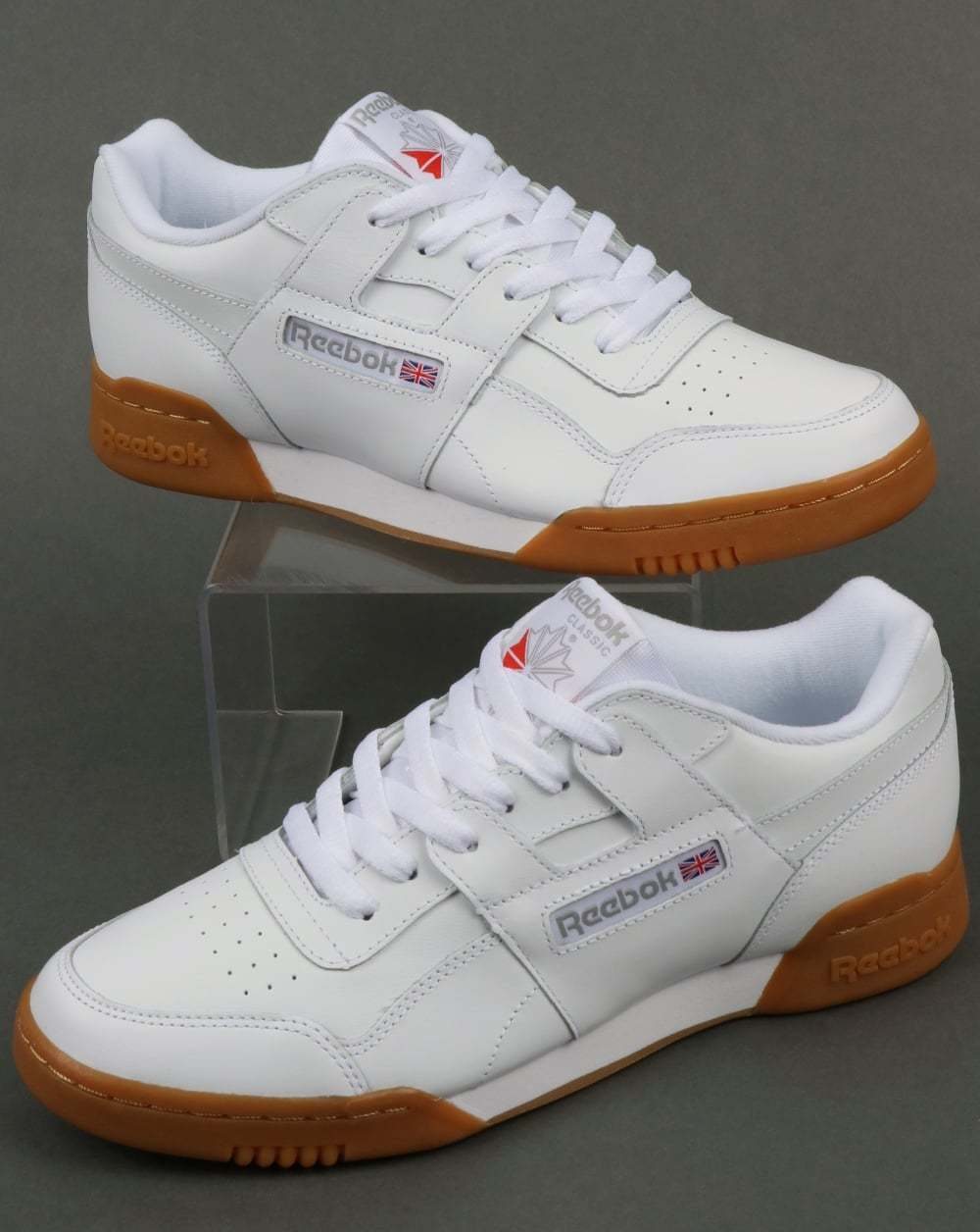 Reebok Workout Plus Trainers in Weiß, Gum Sole - classic H Strap soft leather