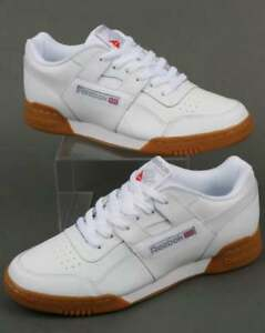 Image is loading Reebok-Workout-Plus-Trainers-in-White-Gum-Sole- b41dc71ea
