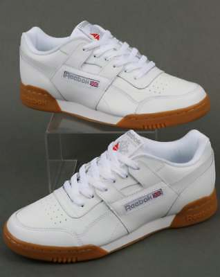 Poder Oblea Empeorando  Reebok Workout Plus Trainers in White, Gum Sole - classic H Strap soft  leather | eBay