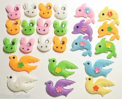 24 PLUSH Fabric Embellishments CHOICE of  Rabbit//Dolphin//Doves with Jewels NEW