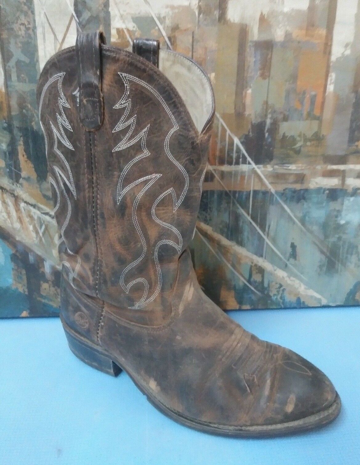 Uomo's Cowboy Stivali. Brown Pelle. Double H 3282. Made In USA. 11.5 EEE