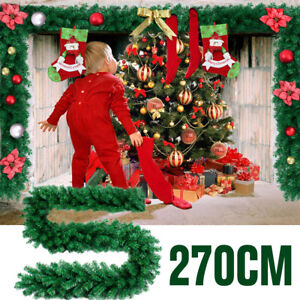 Details About 9ft Christmas Pine Garland Fireplace Decoration Xmas Mantel Tree Wreath Ribbon