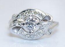 WOW! Antique Women's 14K White Gold .60 Ct European Cut Diamond Ring Size 6.5