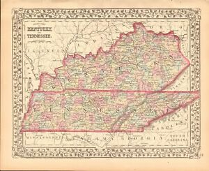 Details about 1874 ANTIQUE MAP - USA - KENTUCKY AND TENNESSEE