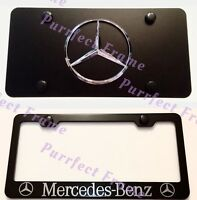 mercedes-benz Stainless Black Front License Plate & Frame Combo Rust Free