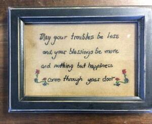 FRAMED-INSPIRATIONAL-STITCHERY-034-MAY-YOUR-TROUBLES-BE-LESS-034-5-1-4-034-X-7-1-4-034