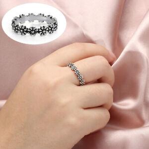 Jewellery-925-Silver-Daisy-Flower-Ring-Women-Wedding-Proposal-Rings-Size-6-10