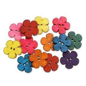 New-50-Blumen-2-Locher-Holz-Knopf-Knopfe-19mm-x18mm-DIY-Basteln