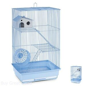 3 TIER HAMSTER CAGE Gerbil Pig Rat Home Small Animal Pet House Set Blue Wire NEW
