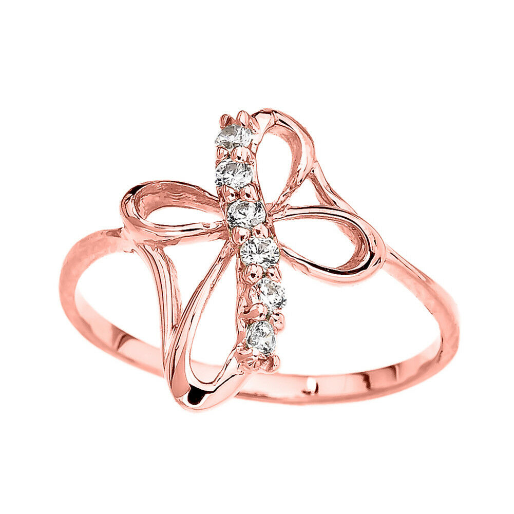 0.11 CTW  Dainty Cubic Zirconia Modern Cross Ring in pink gold