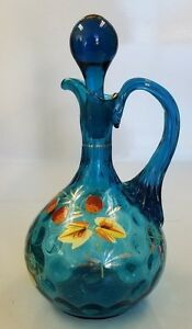 ANTIQUE MOSER BLOWN GLASS CRUET W/ ENAMEL AND GILT DECORATIONS