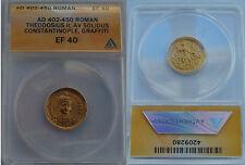 Byzantine Empire Theodosius II (AD 402-450) Gold Solidus ANACS EF 40 beautiful!