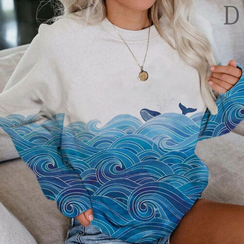 Women/'s Scenery Printed Sweatshirts Round Neck Long Sleeve Casual Loose Pullover
