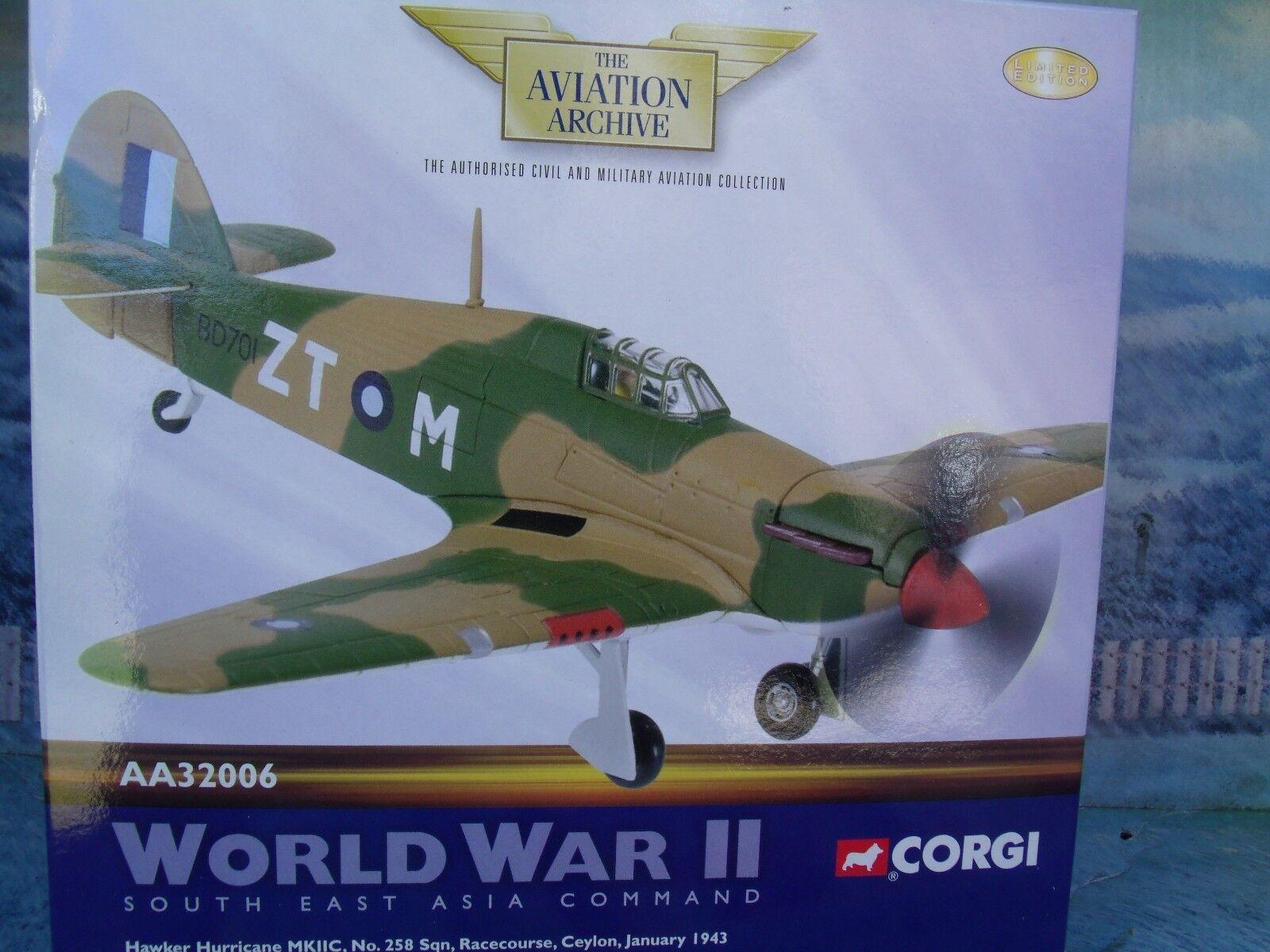 1 72 Corgi aviación aa32006 Hawker Hurricane 258 Sqn Ceilán 1943