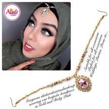 Head Hair Piece Indian Costume Jewellery Matha Patti Scarf Hijab Gold Light Pink