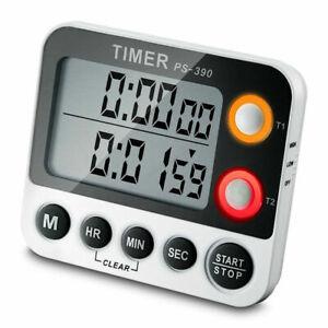 LCD-Double-Digital-Kuechenwecker-Kurzzeitmesser-Kuechen-Timer-Mit-Magnet-Eieruhr