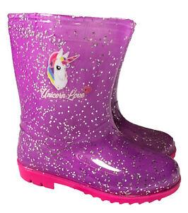 Childrens MERMAID Rockpool Beach Wellies Pink Sparkle Girls Wellington Boots