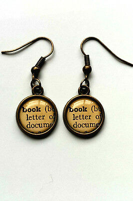 BOOK Earrings Antique Bronze Hooks BOOK LOVER READER Dictionary Jewellery NEW