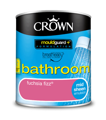 Crown Bathroom Emulsion Fuschia Fizz 1 Litre Paint Mould ...