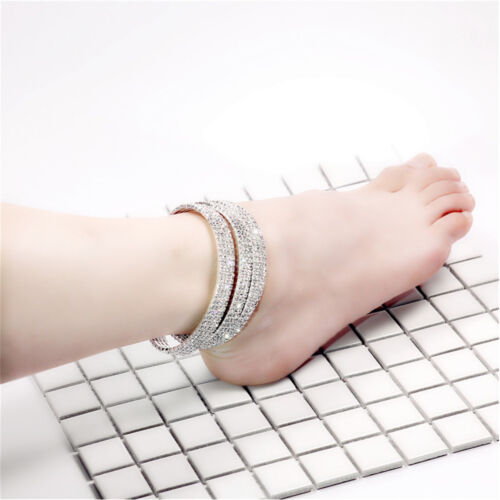 Silver Ankle Bracelet Stretchy 1 2 3 4 5 Rows Anklet Chain Diamante Rhinestones