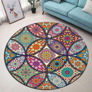 Round Carpet Mandala Flowers Style Floor Non Slip Rug Room