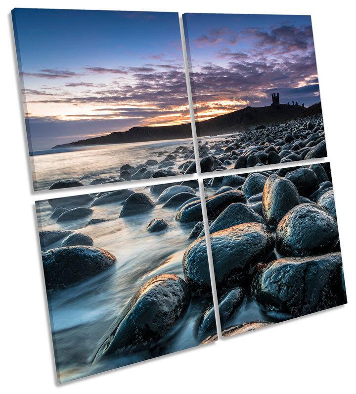 Dunstanburgh Castle Sunset MULTI CANVAS WALL ART Square Picture