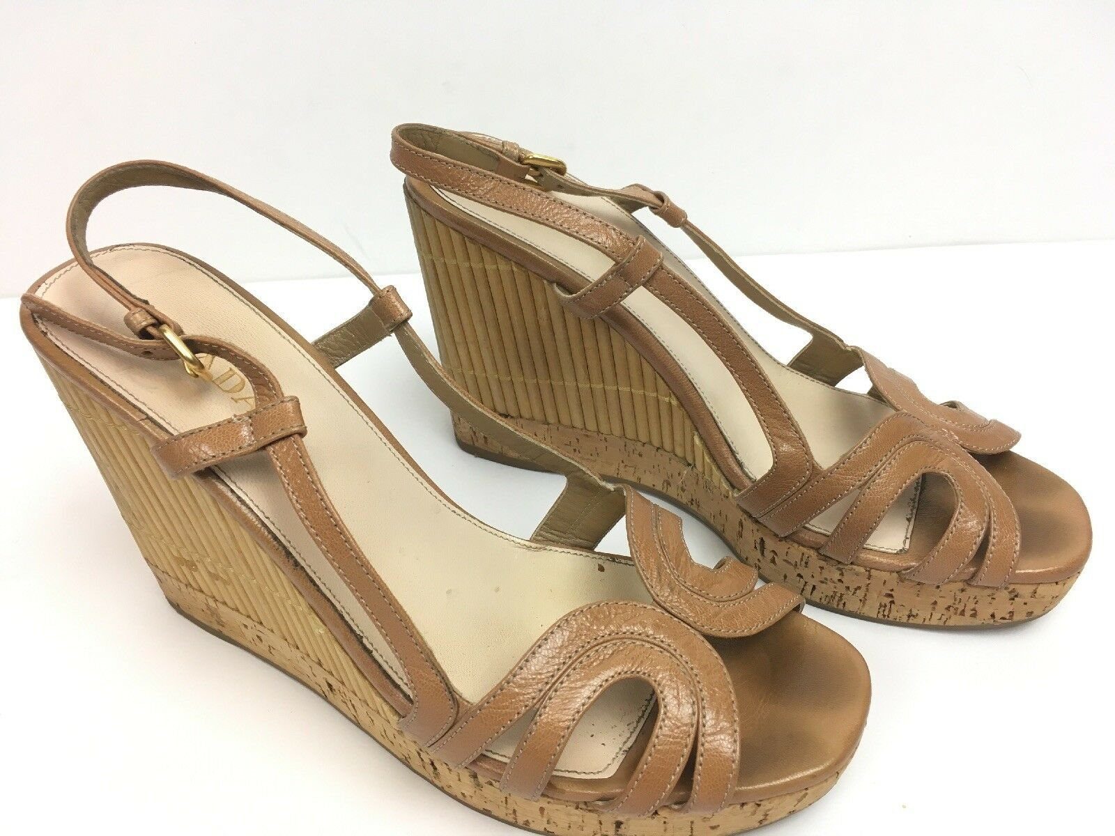Prada Womens Tan Strappy, Buckle Wedge Bamboo, Cork Platform Sandal Size 40 EU