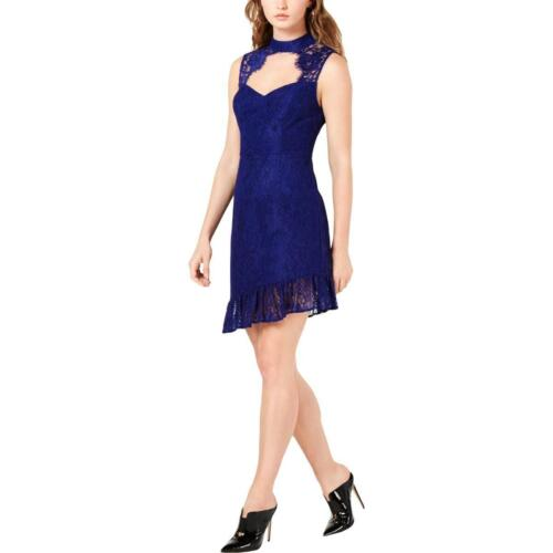 Guess Womens Blue Lace Overlay Mini Party Cocktail Dress 4 BHFO 5838
