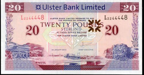 Ulster bank Ltd Belfast £20 twenty pound banknotes 2010 2012 2014 2015 2017