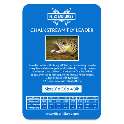 """chalkstream"" Tapered Flyline Leader 0x 1x 2x 3x4x5x 6x X 12' Fast & Free Post Met Een Langdurige Reputatie"