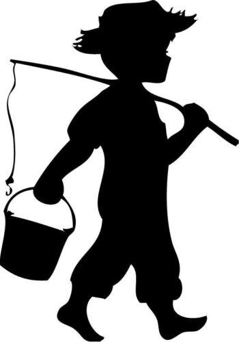 Little boy going fishing  Boy fishing Wall Vinyl Decal