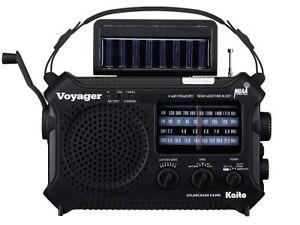 Used-Kaito-Voyager-KA500-Solar-Radio-with-Weather-Band-and-LED-Flashlight-Black