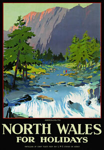 TU58-Vintage-North-Wales-Aberglaslyn-LMS-Railway-Travel-Poster-Re-Print-A4