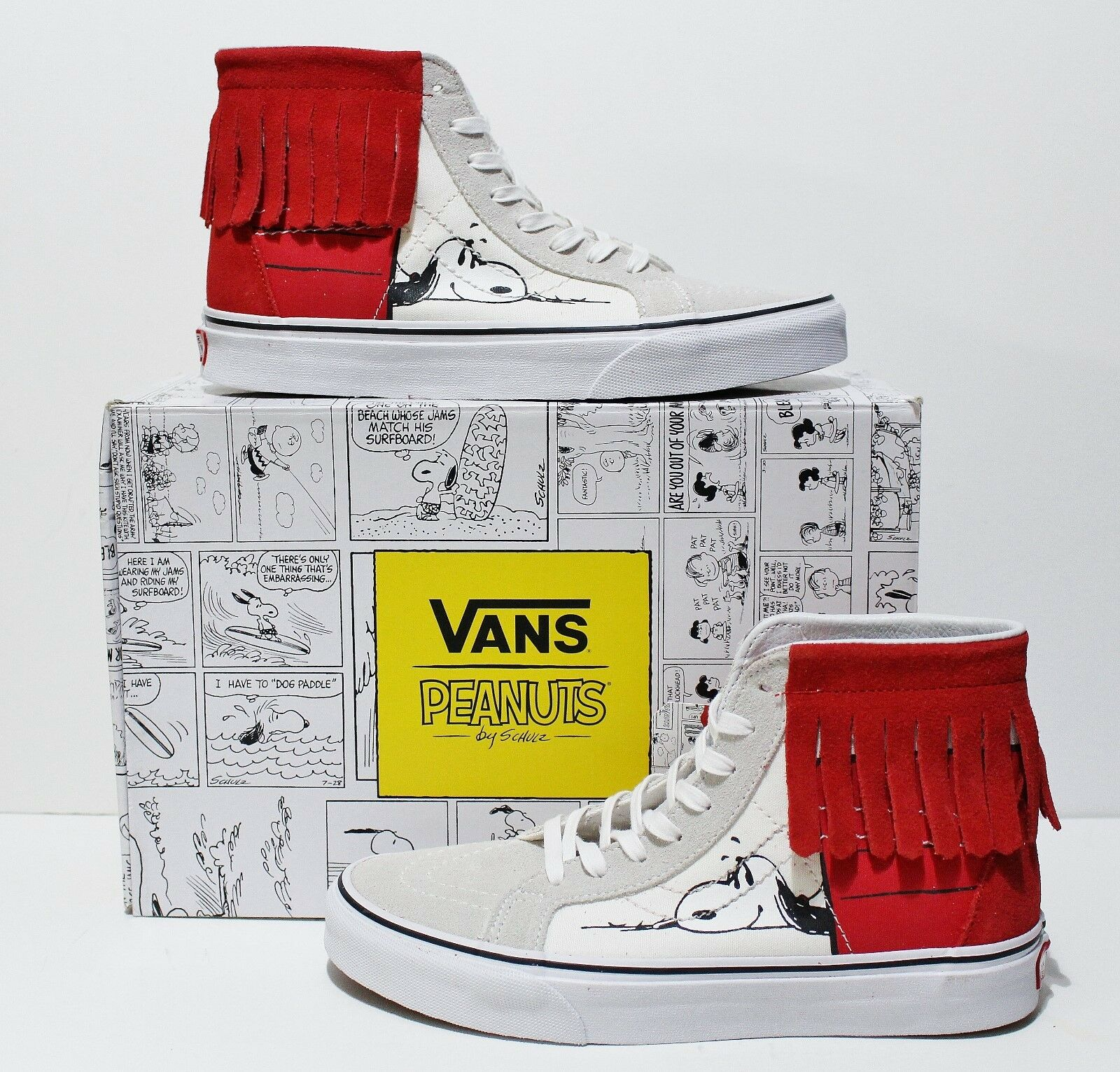 Vans X Peanuts SK8 Hi Moc Dog House Bone White Red Women's Size  7