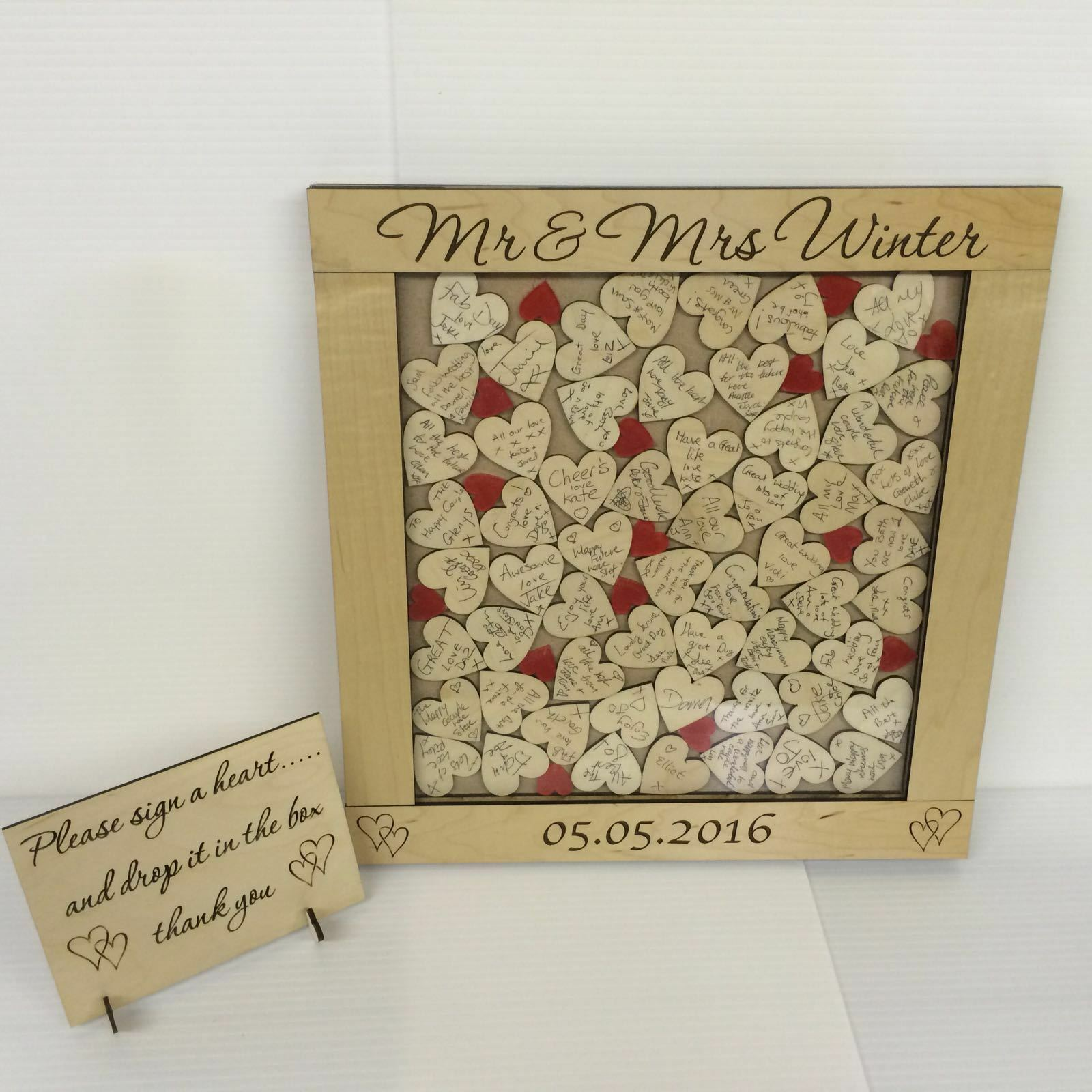 Personalised luxury maplewood rot drop box wedding guest book 56 hearts gift