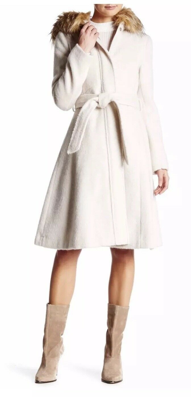 dde07836702 Change her life with the gift of sponsorship. NWT 400 Eliza J Mohair Faux  Fur Trim A-Line Hooded ZIP Long Coat Pearl