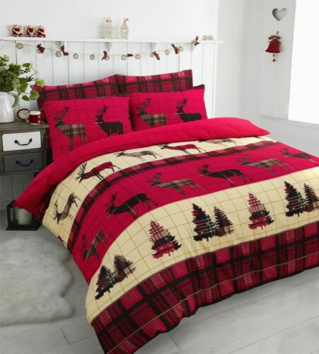 New /& Stylish Cotton Stag Duvet Cover Set Flannelette Bedding Winter Forest