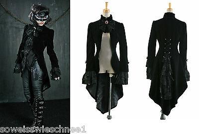 Punk Rave Samt Mantel Gehrock Frack Gothic Jacket Barock Tailcoat UNISEX Y-334 E