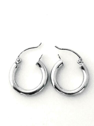 "1-3//16/"" EW7325-50 New 3 mm by 25 mm 14K Solid White Gold Hoop Earring"