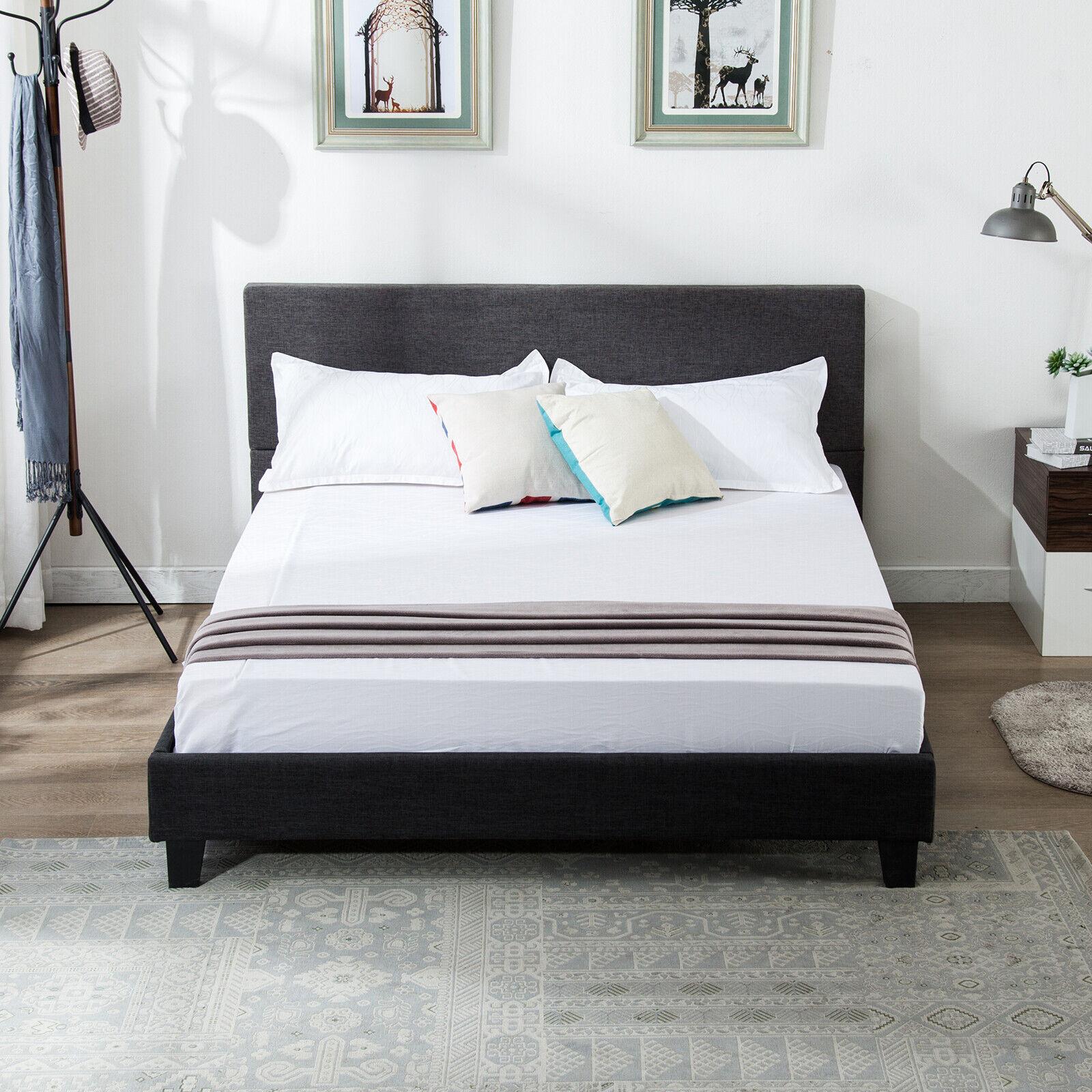 Velvet Or Linen Platform Bed Frame Headboard Queen King Size Bedroom Tufted For Sale Online Ebay