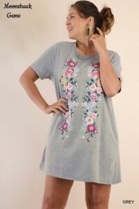eb4b8adb613 Image is loading UMGEE-Floral-Embroidered-Short-Sleeve-Tee-Dress-Tunic-