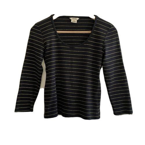 Michael Kors Womens Black Stretch Metallic Striped