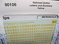 Microscale Decals Stock #90106 Railroad Gothic  Letters and Numbers Yellow