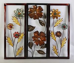 Yellow Blue Brown Metal Flower Wall Decor Accent For Home