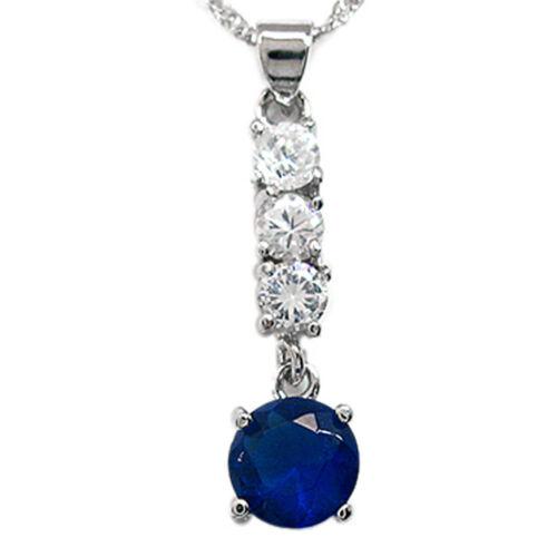 Melina Bijoux Saphir Bleu Rond Cut White Gold Tone Pendentif Cadeau Pour Robe