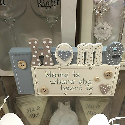 Home is where the heart is,  shelf standing sign plaque buttons  & dots SH
