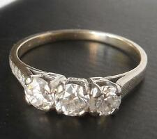 BROGAN ART DECO VINTAGE 14k WHITE GOLD .91CT EUROPEAN DIAMOND 3-STONE BAND RING