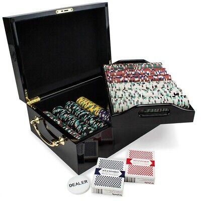 "Holdem Poker Chip Set Claysmith  /""Desert Heat/"" 500 Count 13.5g  Mahogany Case"