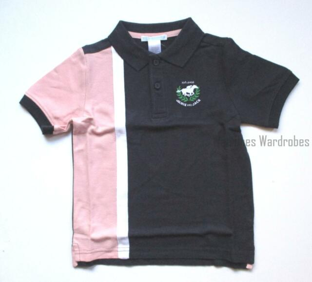 Janie and Jack Spring Derby Easter Navy Pink Stripe Horse Polo Top Shirt 2T NWT